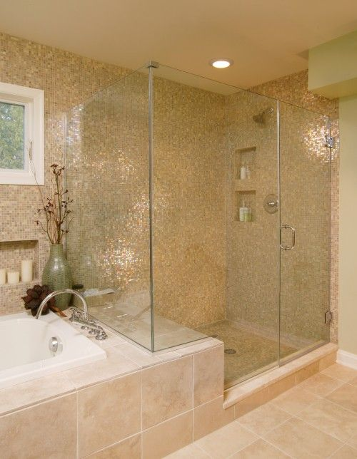 love the idea of using the ledge of the tub at a seat in the shower