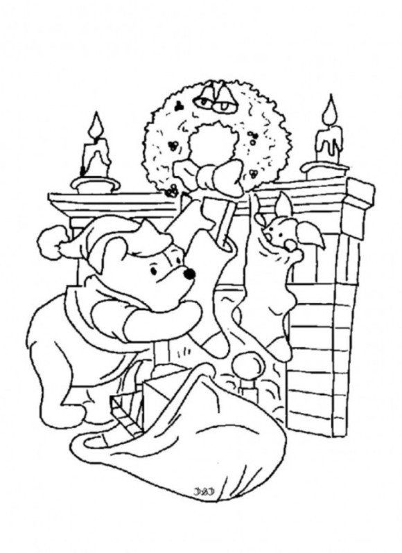 Winnie the pooh and piglet christmas coloring page for for Winnie the pooh christmas coloring pages