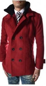 Red Men's Pea Coat | Men's apparel & accessories | Pinterest ...