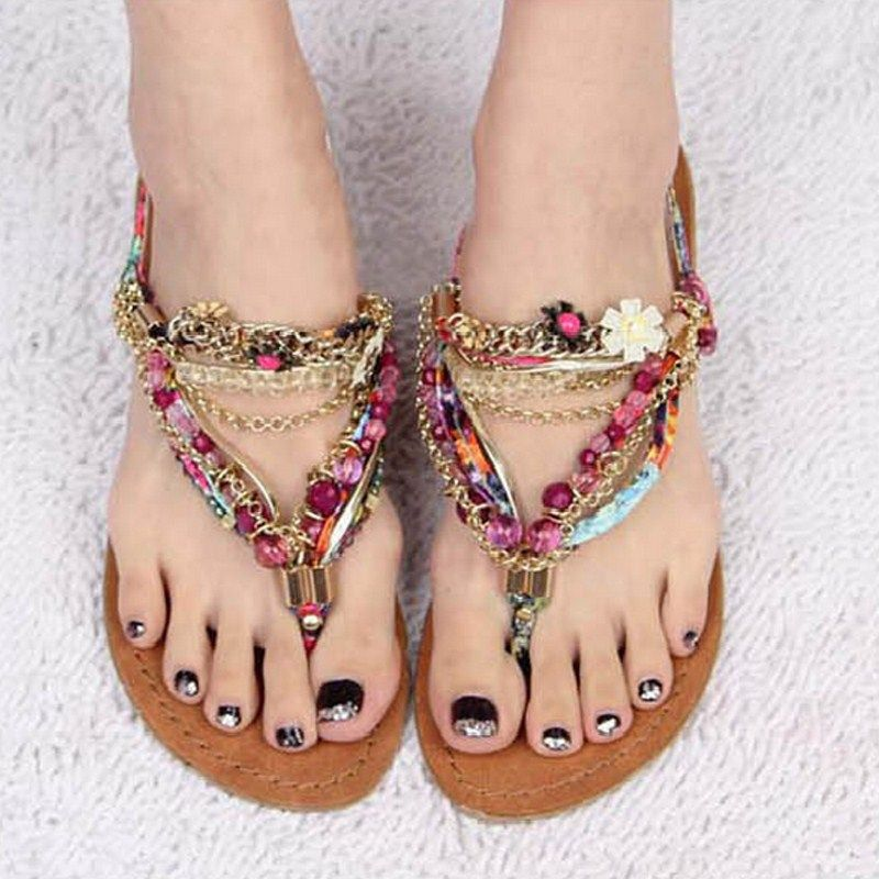 2013 Fashion Genuine Leather Flat Heel Sandals Bohemia