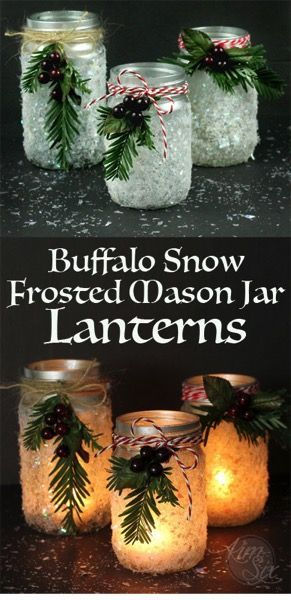 Snow Frosted Candle Holders Turn mason jars into sparkling candle holders that look like frosted glass.  It just takes spray paint and fake snow!Turn mason jars into sparkling candle holders that look like frosted glass.  It just takes spray paint and fake snow!