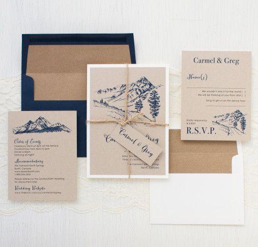 Rustic Mountain Wedding Invitations   Colorado Wedding