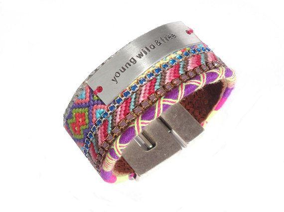 Young Wild & Free- handstamped cuff bracelet - friendship bracelet cuff with Swarovski - bohemian hippie jewelry - handstamped jewelry