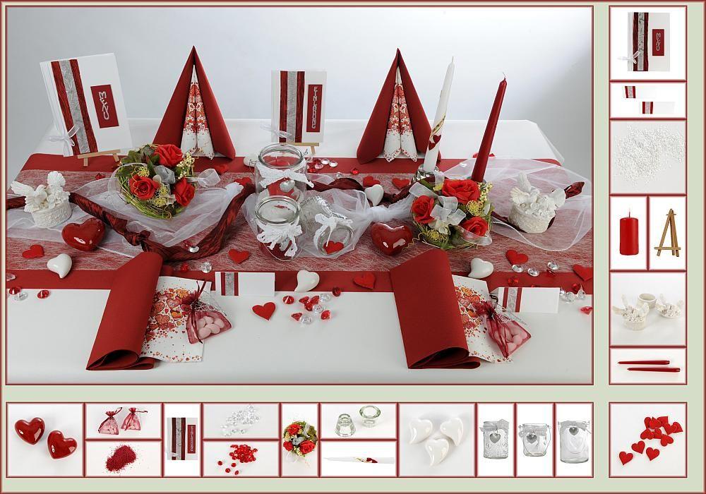 Tischdeko Hochzeit 6 in BordeauxWei als Mustertisch