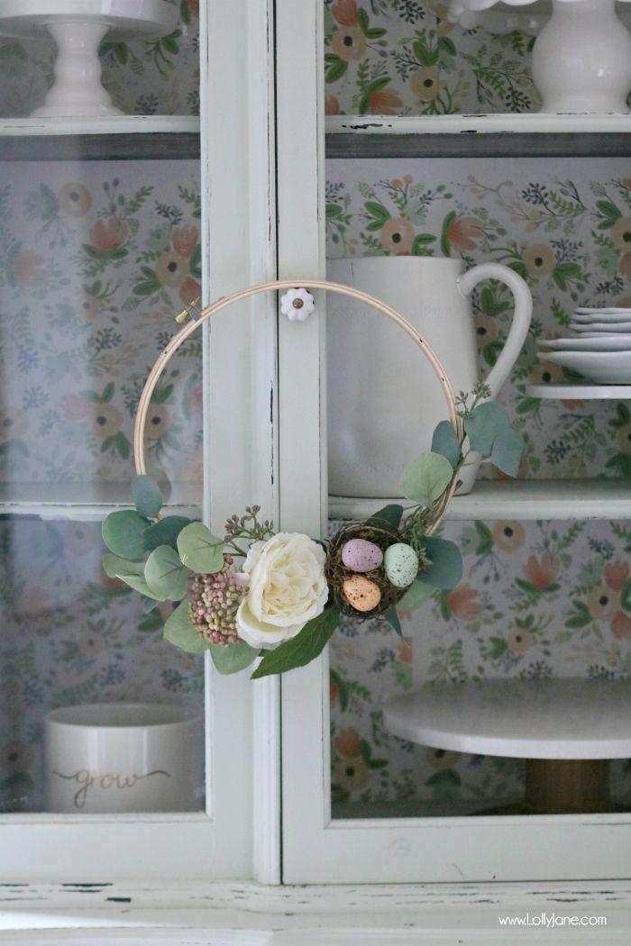 Easy Spring Embroidery Hoop Wreath