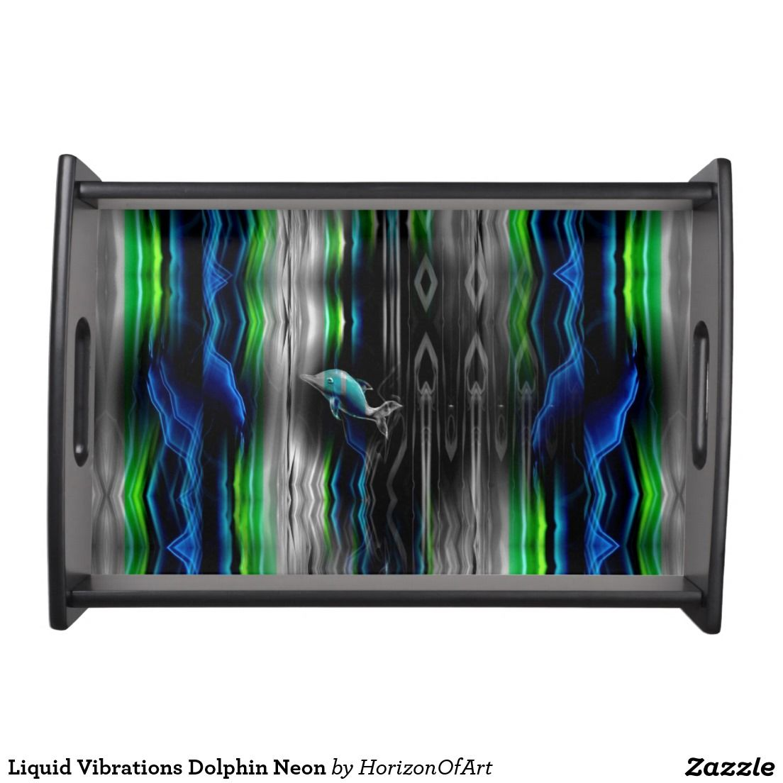 Liquid Vibrations Dolphin Neon Serving Tray