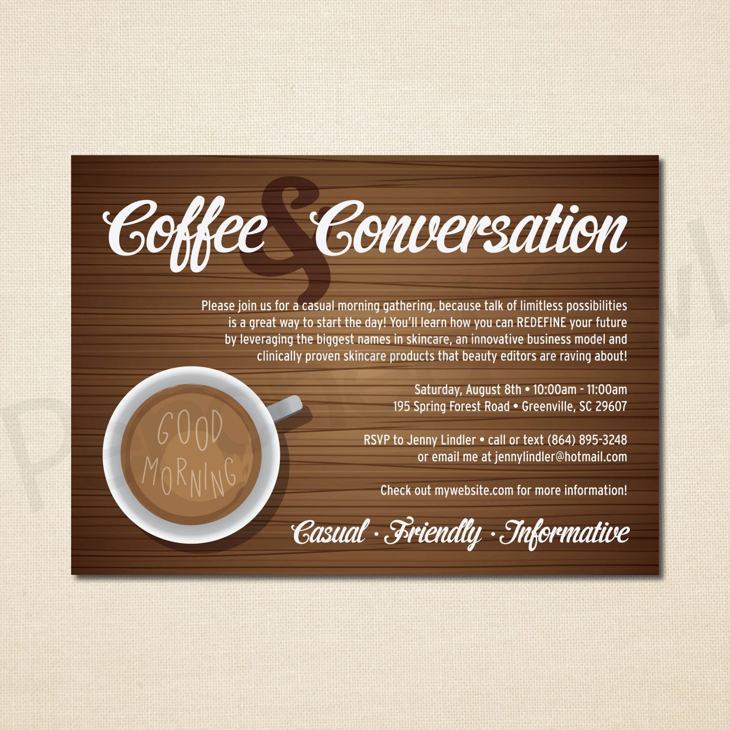Coffee and Conversation Invitation - Direct Selling - Business ...