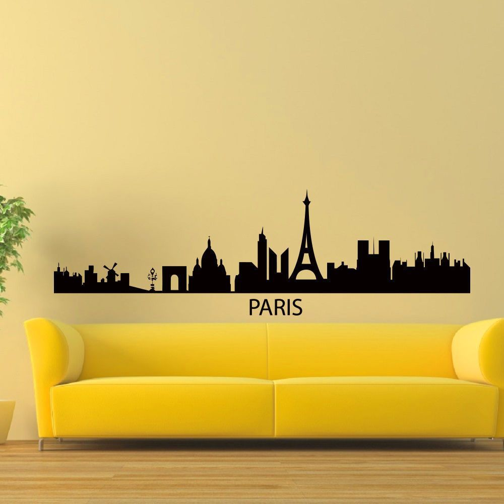 Paris France Skyline City Silhouette Vinyl Wall Art Decal Sticker ...
