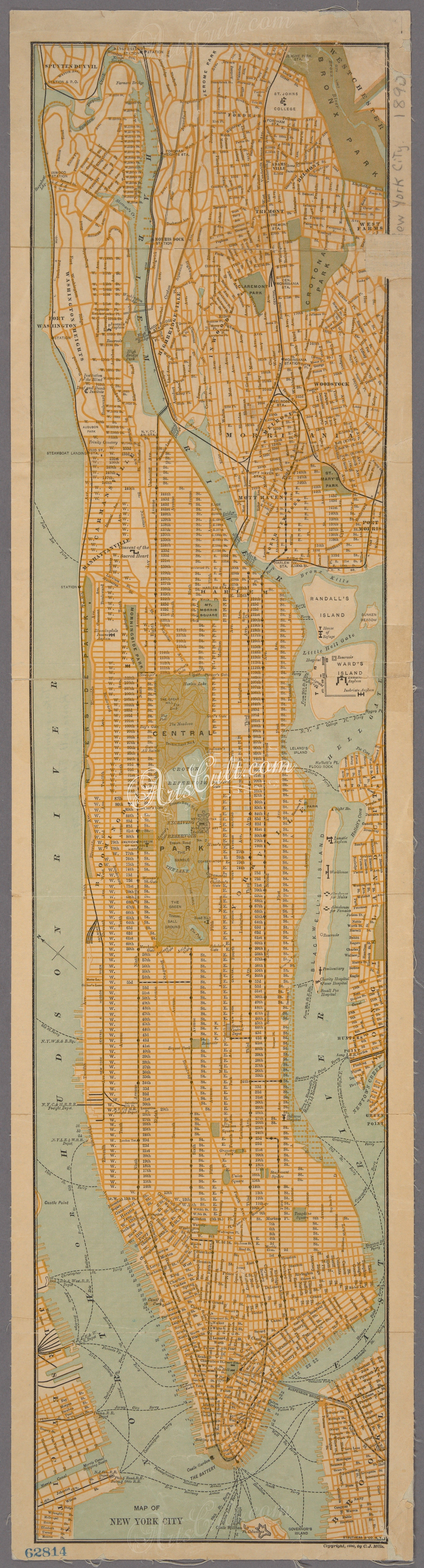 antiquemaps 03482 3989 Map of New York City ArtsCultcom