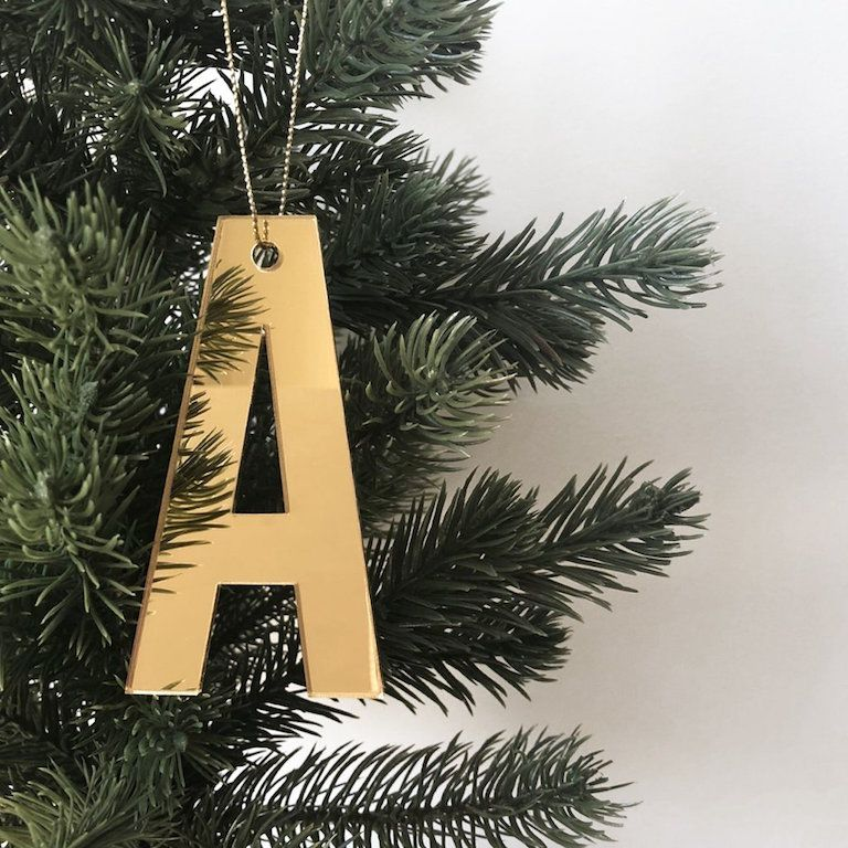 Personalised Christmas Ornament Mirror Letter