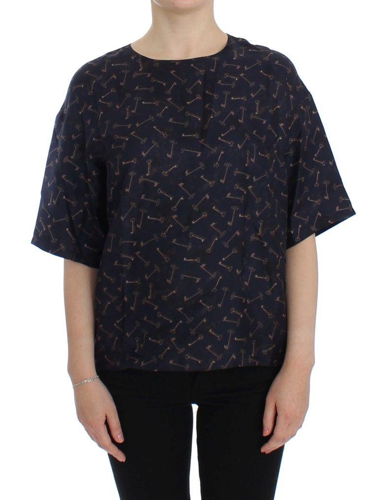 6e3b3c7c363a16 Dolce   Gabbana Blue gold key print silk blouse