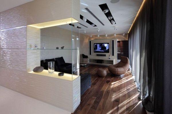 Dekorative trennwand integriert aquarium glas paneele wohnzimmer ideen