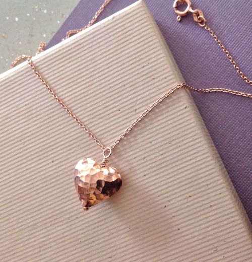Rose Gold Hammered Heart Necklace rose gold heart Wendy