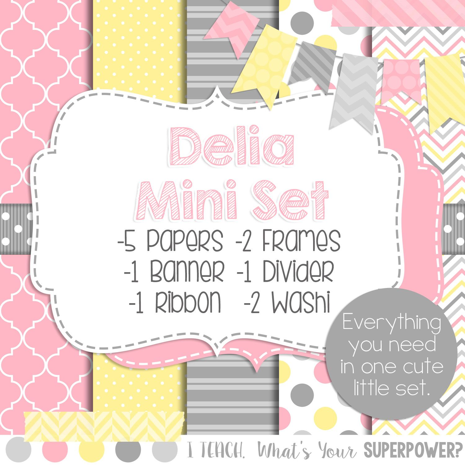 Digital Paper and Frame Delia Mini Set. Pink, yellow, and gray.