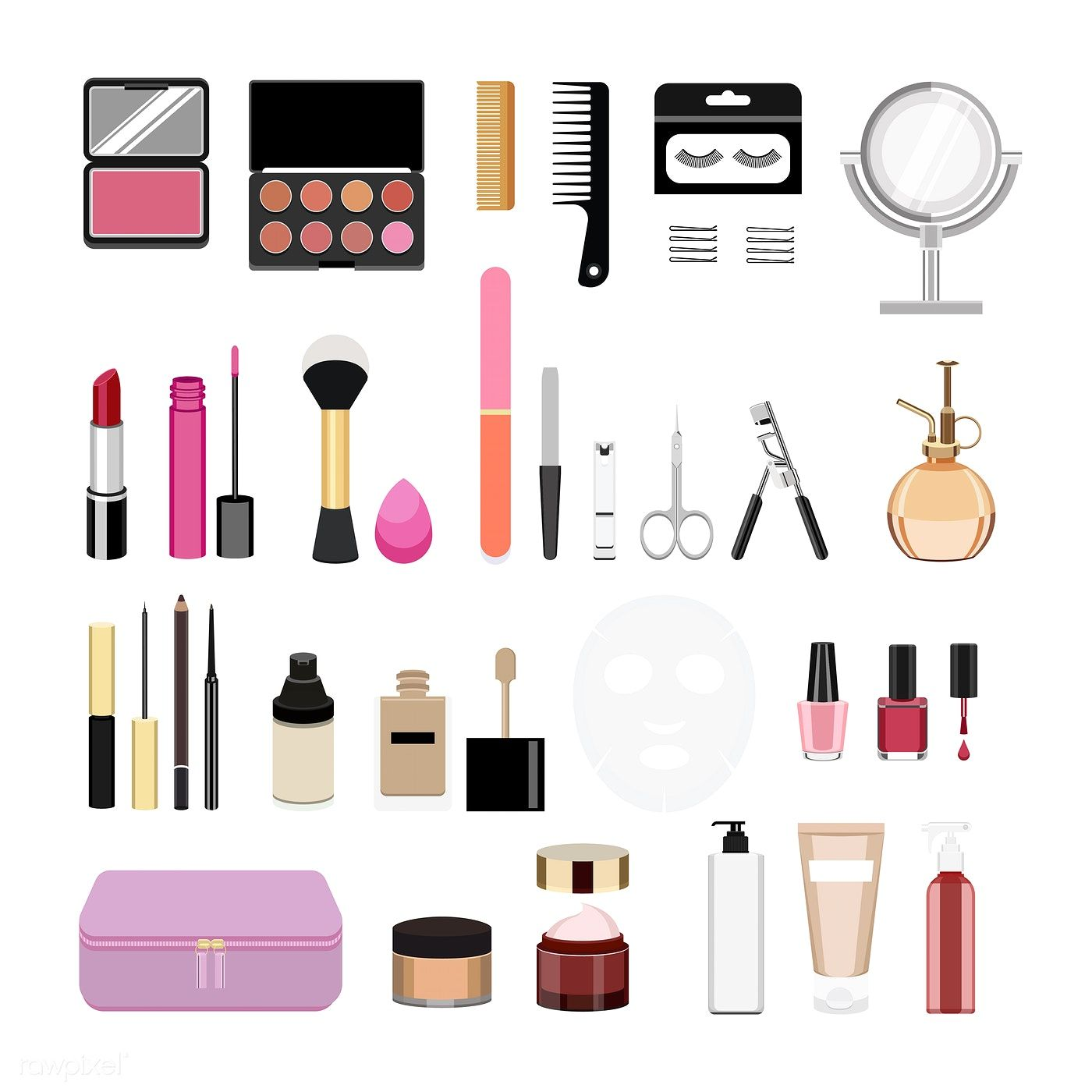 Collection of women cosmetic icons free image by