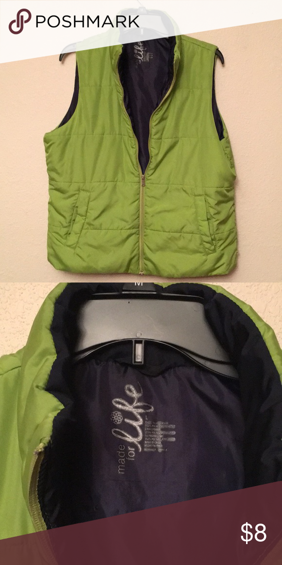 2274eeb77d4 COMFY VEST Lime green outer   navy inner   VGUC made for life Jackets    Coats Vests