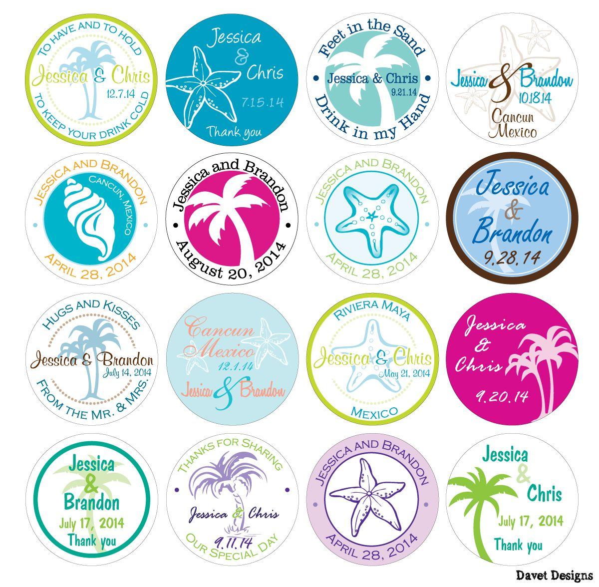 Personalized Destination Wedding Stickers by Davet Designs | wedding ...