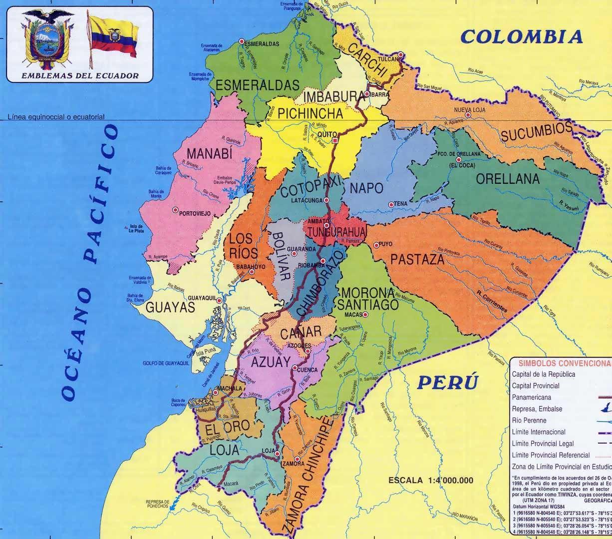 Ecuador The Middle Of The World Ecuador South America And - Ecuador provinces map