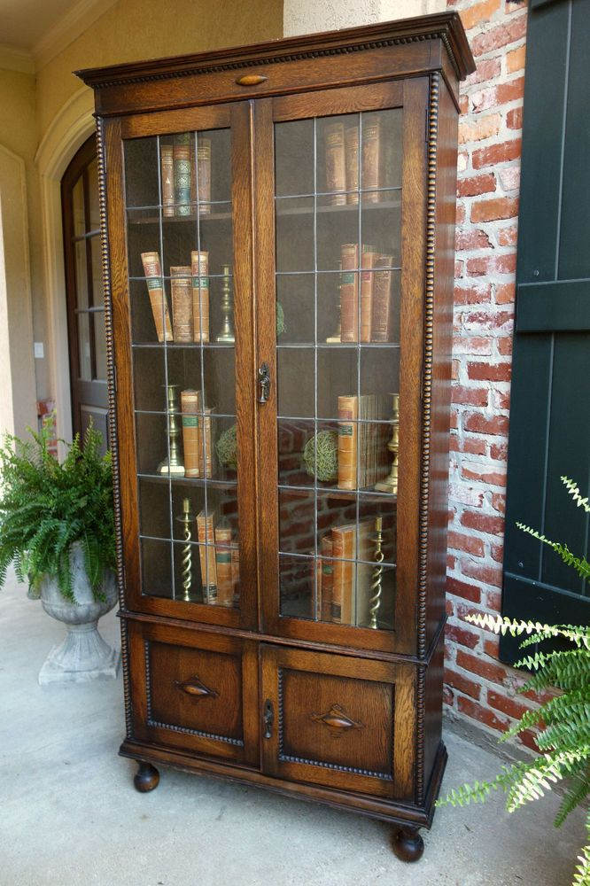 TALL Antique English Tiger Oak Leaded Glass BOOKCASE Display Cabinet  Jacobean - TALL Antique English Tiger Oak Leaded Glass BOOKCASE Display
