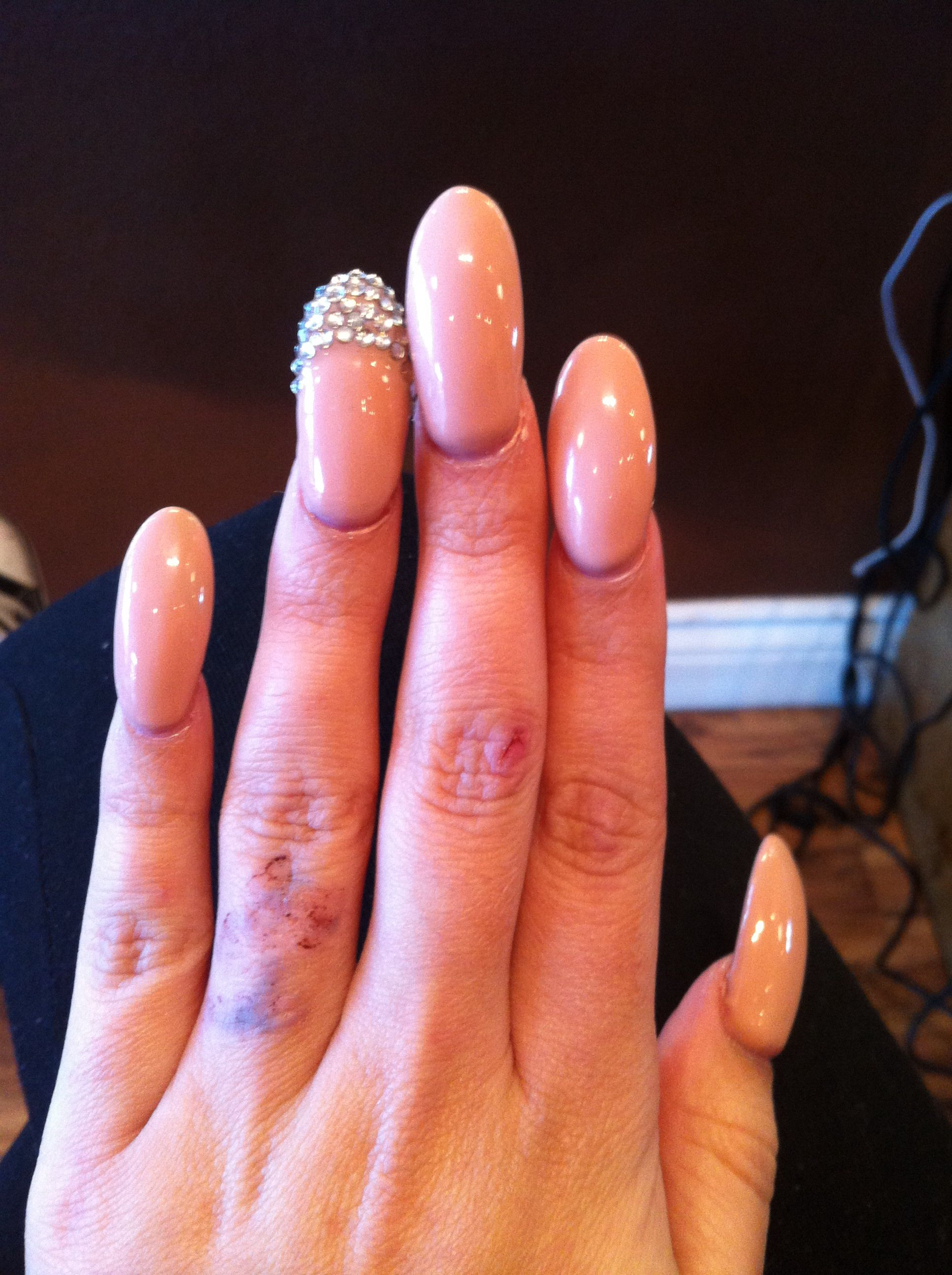 Oval acrylic nail #classic #nude #rhinestones | Nails | Pinterest