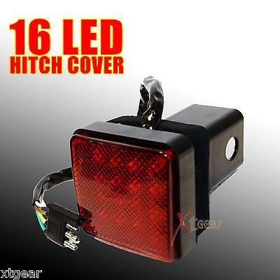 new 2 receiver 16 led brake light trailer hitch cover fit. Black Bedroom Furniture Sets. Home Design Ideas