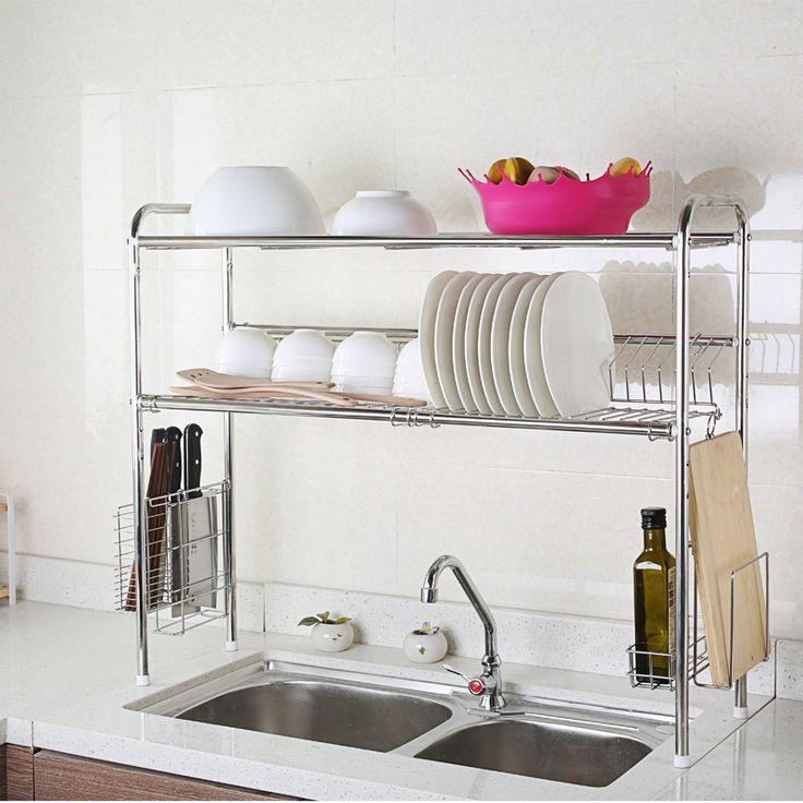1208S Sink 304 Stainless Steel Dish Rack Shelving Rack Drain Drip Dish Rack  Storage Rack Turret