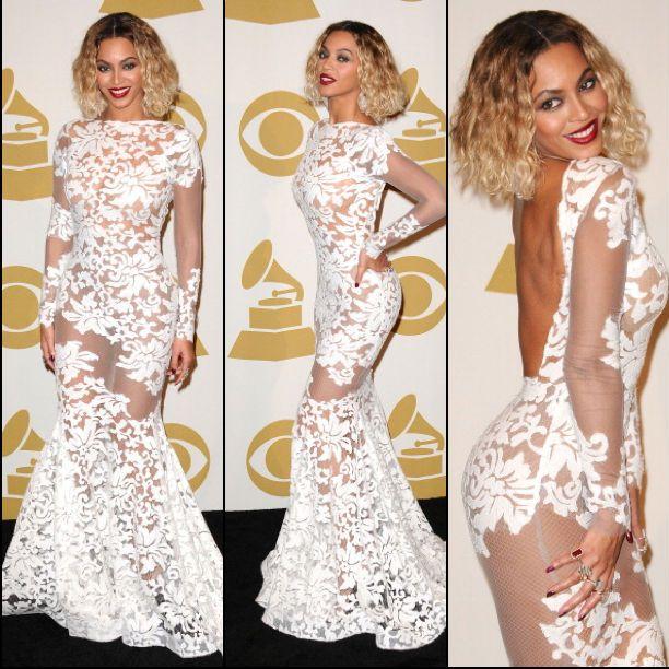 c3010d75148c Beyoncé wears Michael Costello Custom Gown Grammy Awards Backless Prom  Dresses