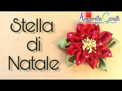 Stella Di Natale Con Perline.Kanzashi Poinsettia Stella Di Natale Di Raso Annarella Gioielli