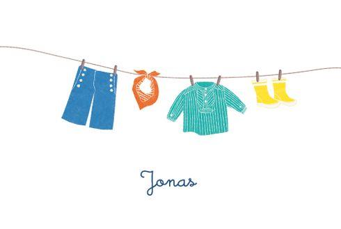 Kinderkleidung auf wäscheleine  Geburtskarte Wäscheleine Seemann by Tomoë für Rosemood.de ...
