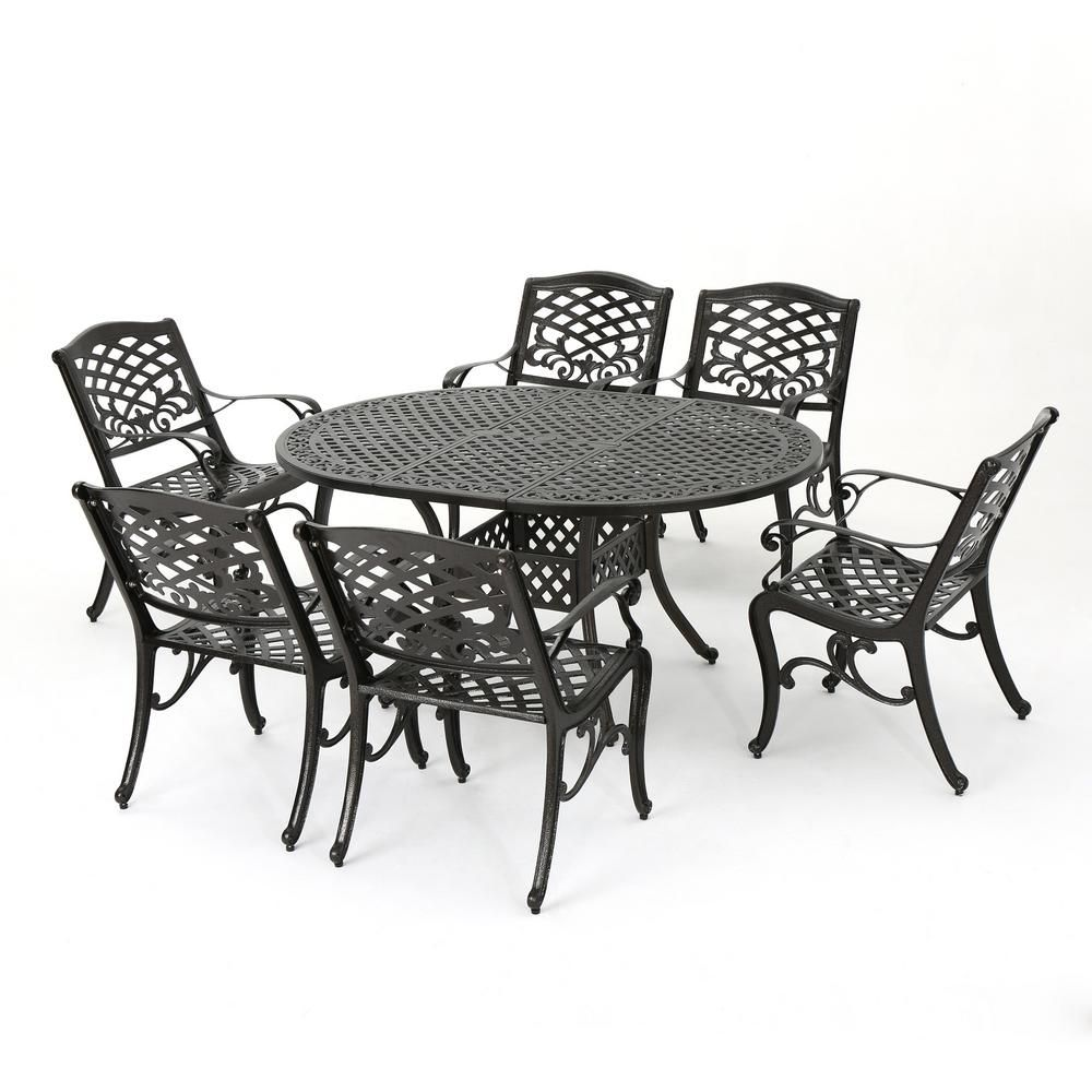 Noble House Aadhya 7 Piece Aluminum Outdoor Dining Set With