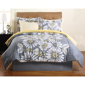 Hometrends Graphic Floral Complete Bedding Set Walmart Com Complete Bedding Set Yellow Bedding Sets Where To Buy Bedding