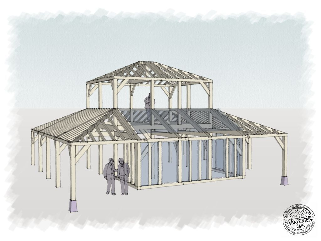 Frame drawing of contemporary green oak wood framed home in ...