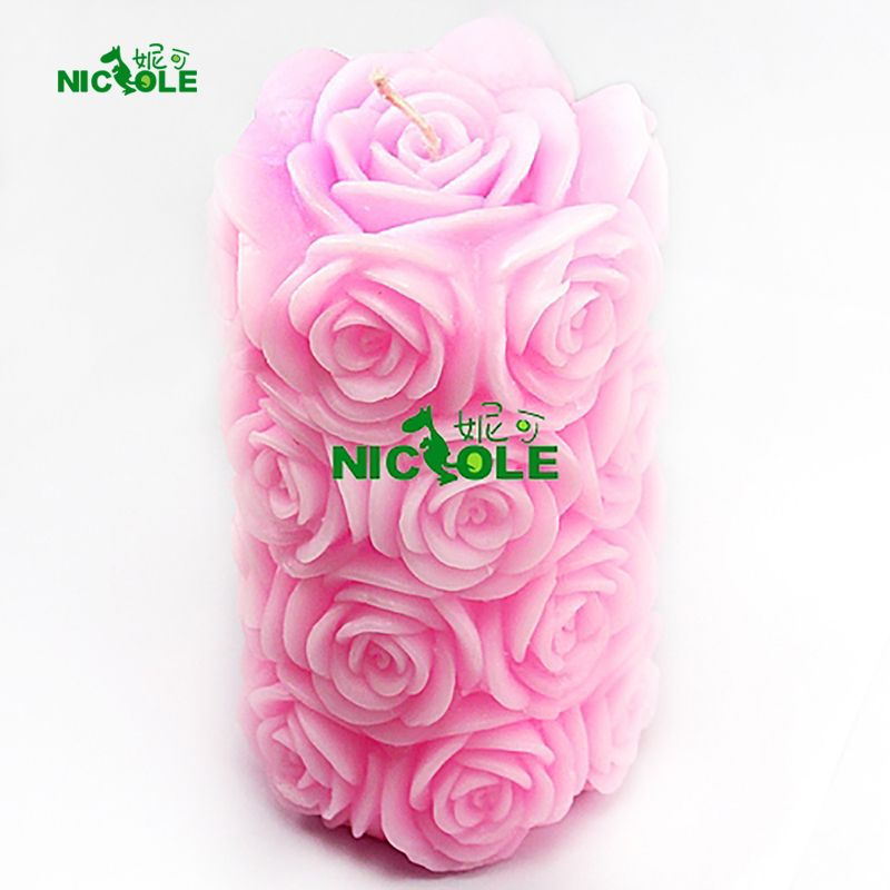 Nicole Silicone Mold for Soap Candle Making 3D Round Cylinder with Bubble Shape Mould Handmade Craft