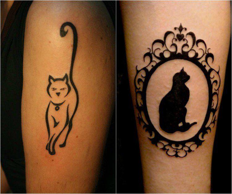tatouage chat original en styles vari s 39 id es cr atives tatouage chat miroir baroque et. Black Bedroom Furniture Sets. Home Design Ideas
