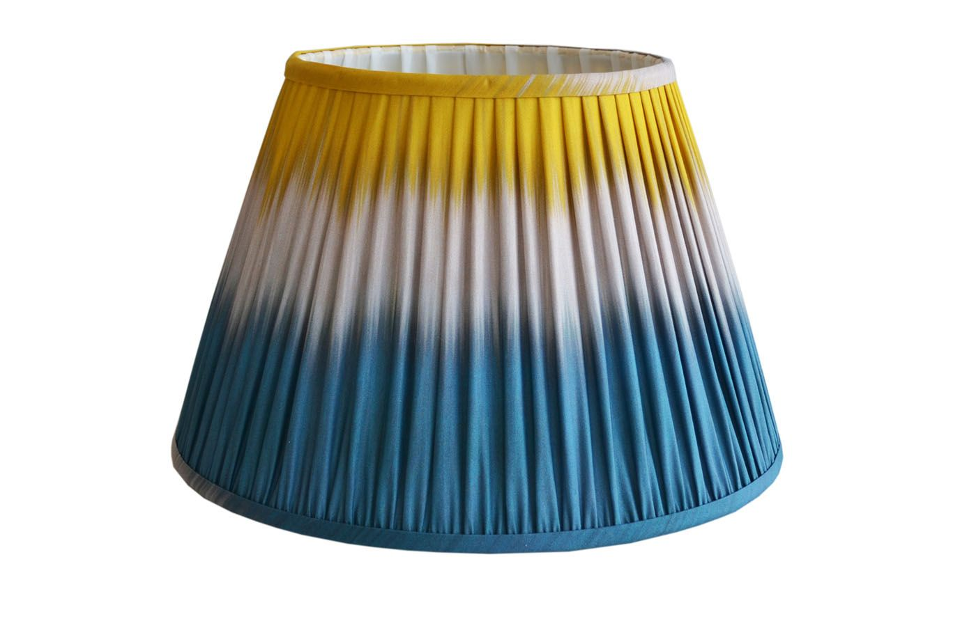 Teal/Yellow Empire shape pleated lampshade, made with ikat