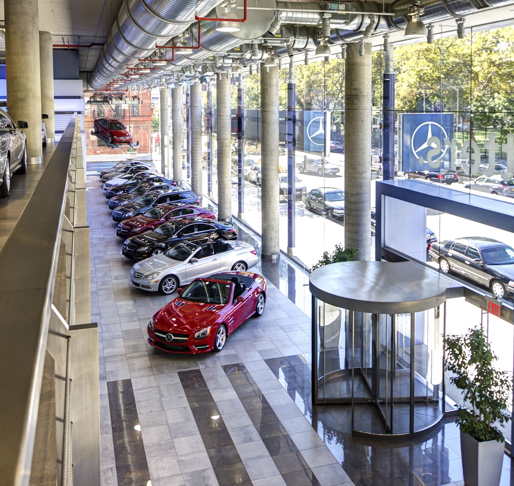 Row of new cars at Mercedes-Benz Manhattan | Used mercedes ...