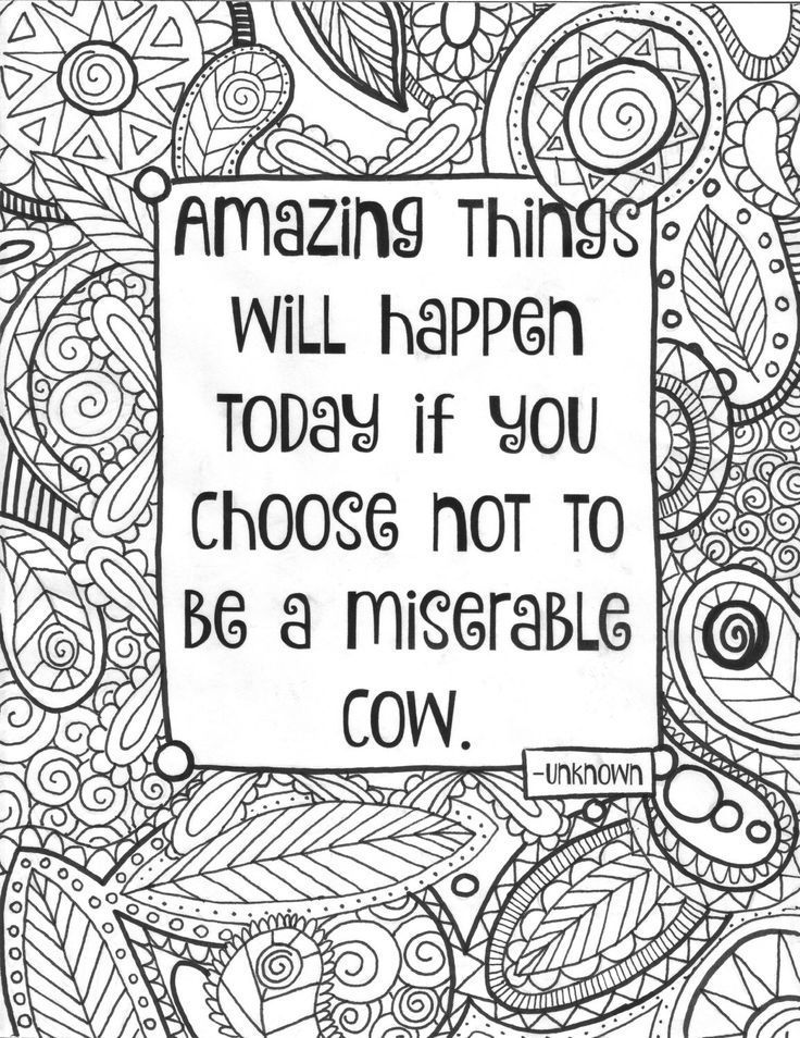 Funny Quotes Adult Coloring Page Quote Sheet