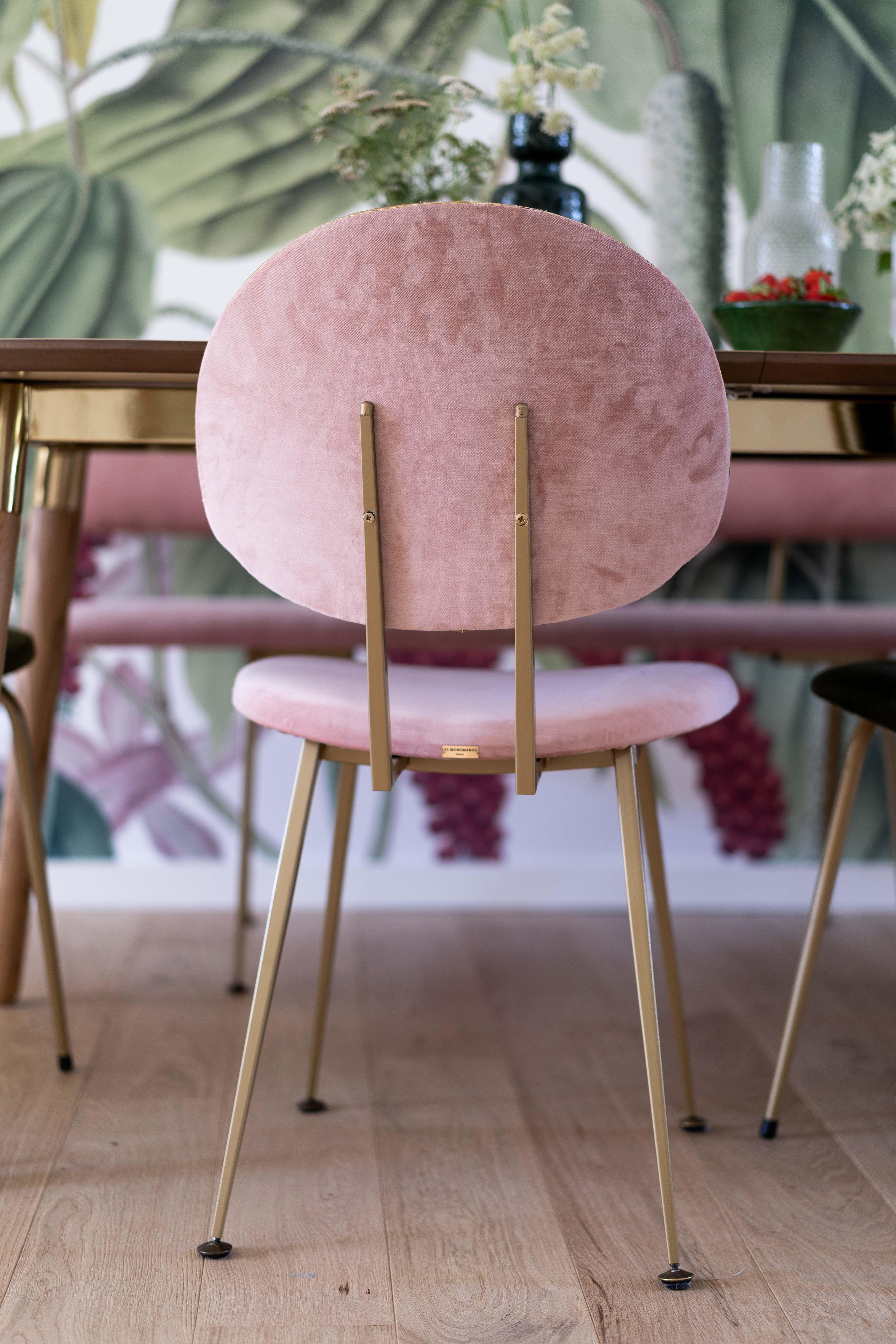 Rénovation Salle à Manger Chaise Sur Mesure Velours Rose