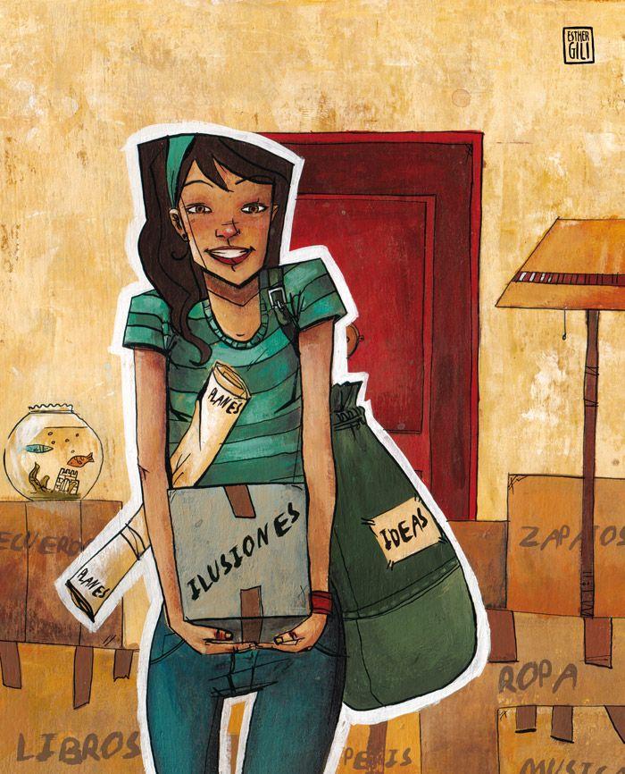 A2/B2 - ¿Recuerdas tu primera mudanza? ¿Qué ilusiones tenías? ¿Qué planes? ¿Qué ideas? [Ilustración: Esther Gili: http://www.esthergili.com]
