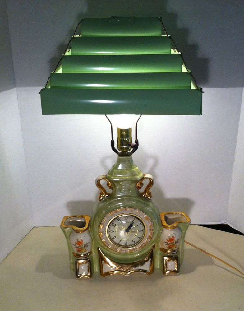 Vintage Porcelain Clock Planter Lamp Green Accordian