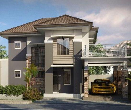 Fachadas bonitas y modernas de dos pisos fachada de for Fachadas de casas modernas de 2 pisos
