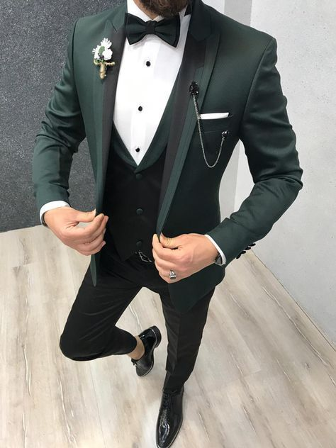 Buy Green Slim Fit Tuxedo by GentWith.com with Free Shipping #menssuits