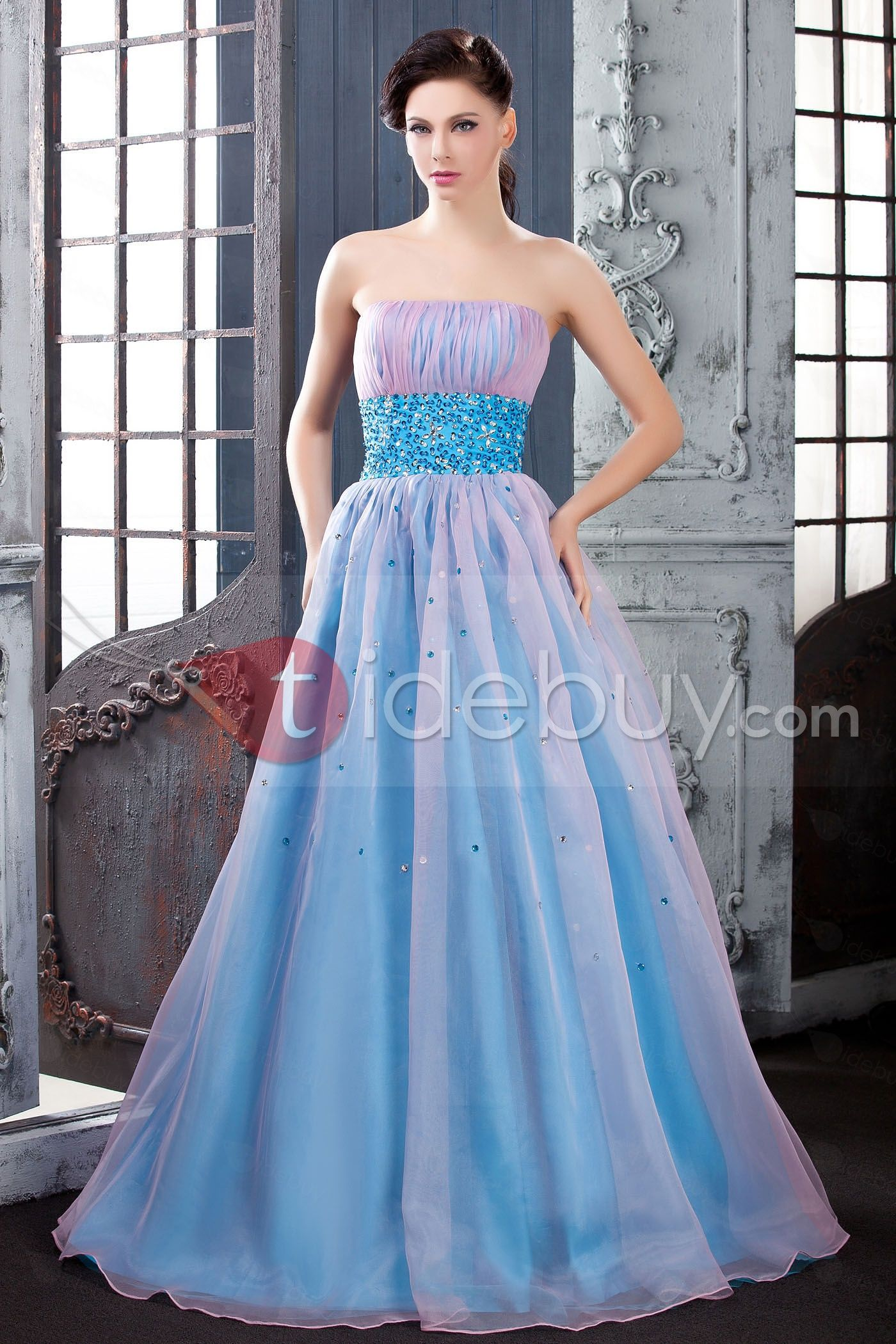 Graceful A-Line Floor-Length Strapless Empire Waistline Beading ...