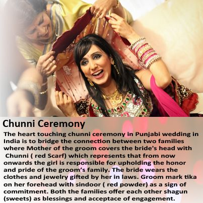 The next step in Punjabi wedding is chunni ceremony which is to