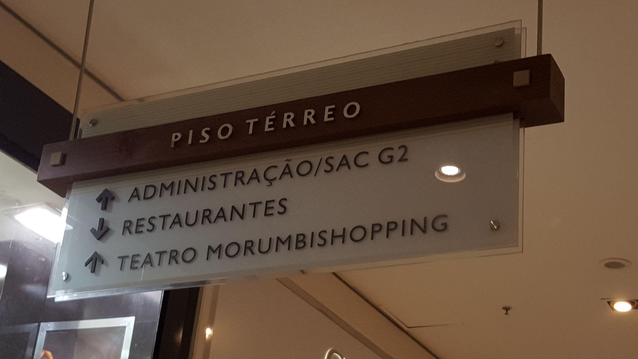 Sinalização no Shopping Morumbi.