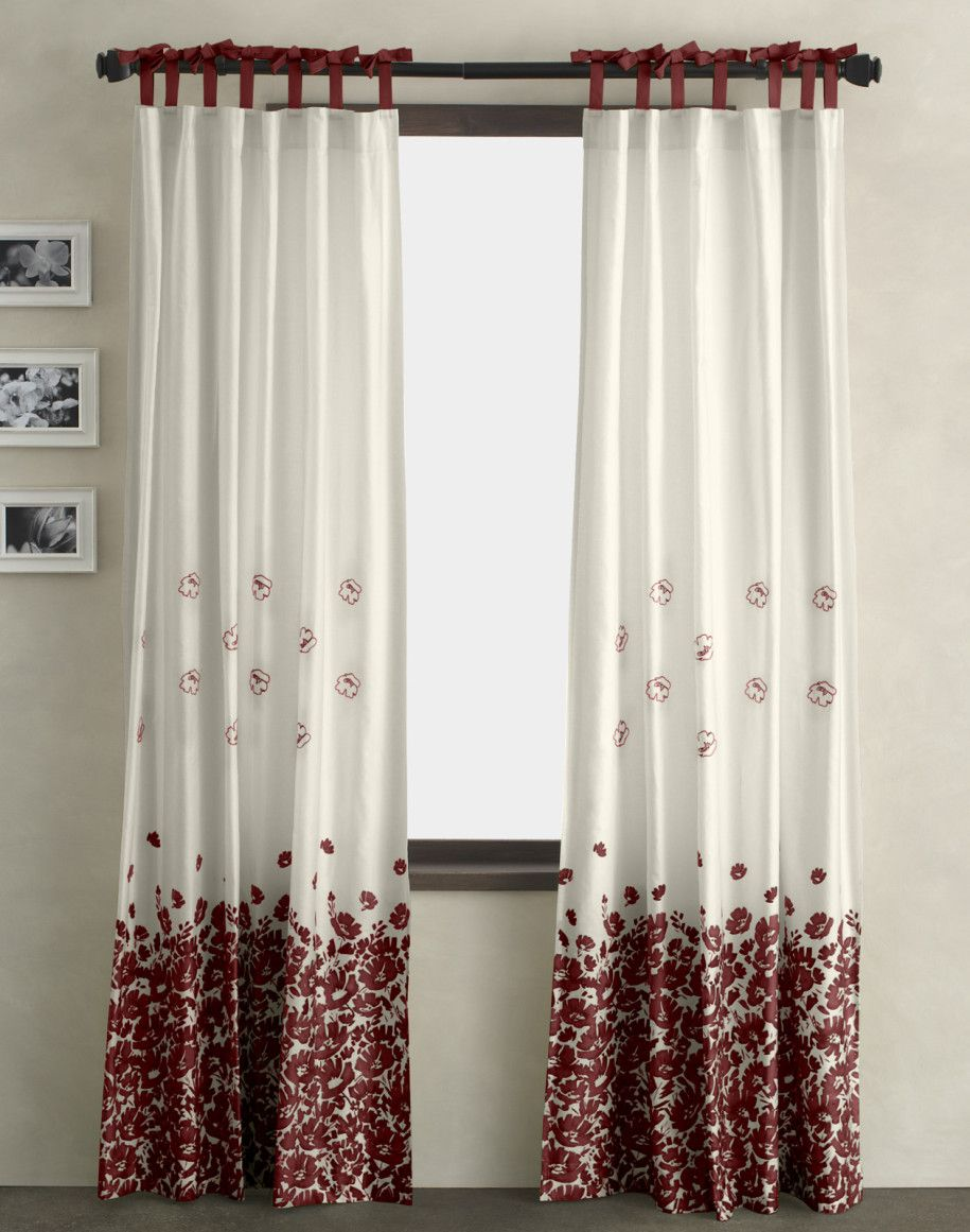 Modern curtains designs bedroom - Decoration Amazing Practical Curtain Ideas White Colored And Floral Red Pattern Modern Design For Decorating Contemporary Living Room Pictures Framed Decor