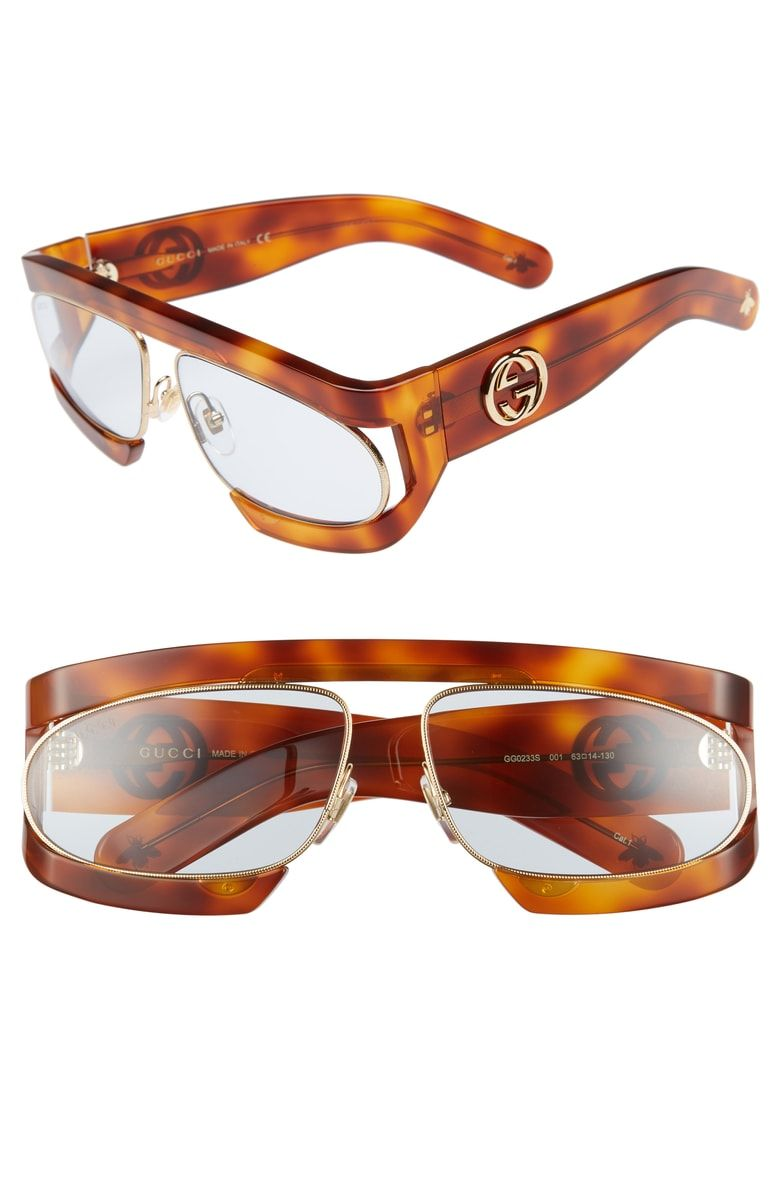 80e75a12bdcd Free shipping and returns on Gucci 63mm Shield Glasses at Nordstrom.com.  Bold, blocky shield frames add to the sporty, of-the-moment look of  Italian-crafted ...