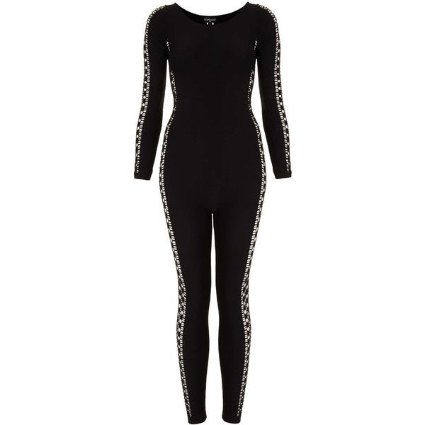 TOPSHOP Ladder Side Body Suit (165 BRL) ❤ liked on Polyvore featuring jumpsuits, bodysuits, topshop, catsuit, leotards and black