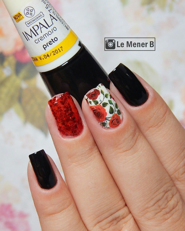 #nail #nails #nailart #nailpolish #rednails #unha #unhas #unhadecorada #unhavermelha #red #vermelho #black #preto #esmalte #glitter #flores #flowers #rosas #rose #polish #love #lovenails #naildesign