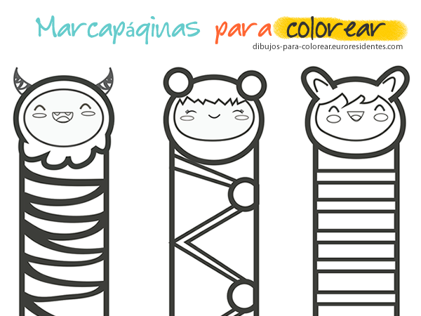 marcapaginas, puntos de libro para colorear | Printables